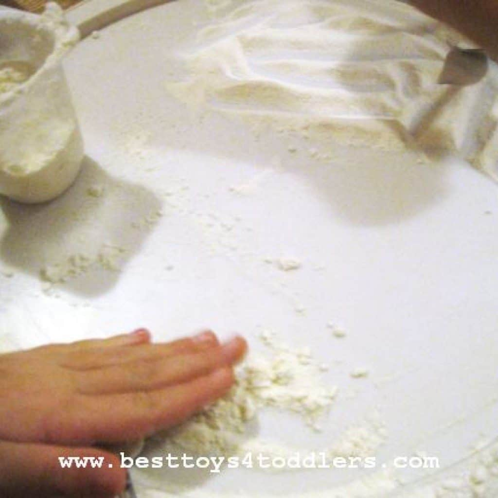 mixing multipurpose flour and shaving cream