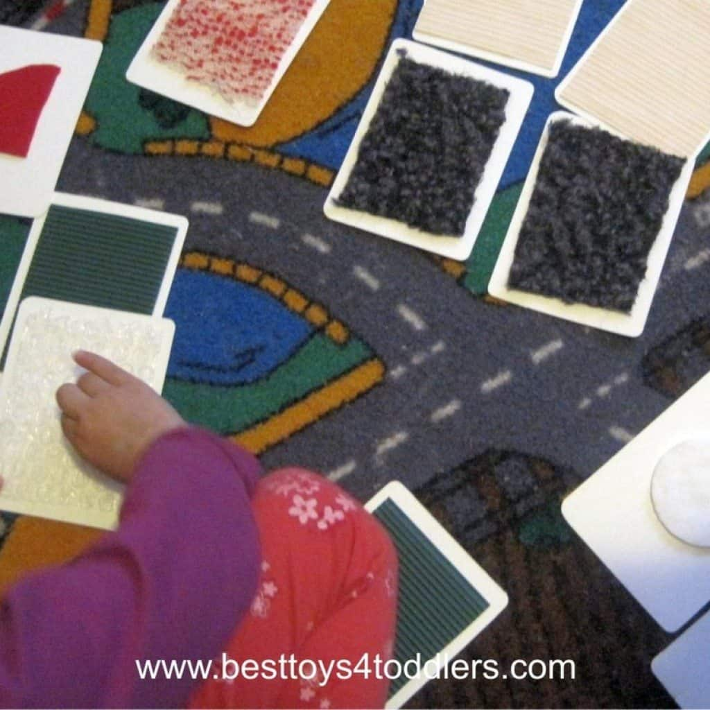 exploring different textures with homemade tactile cards