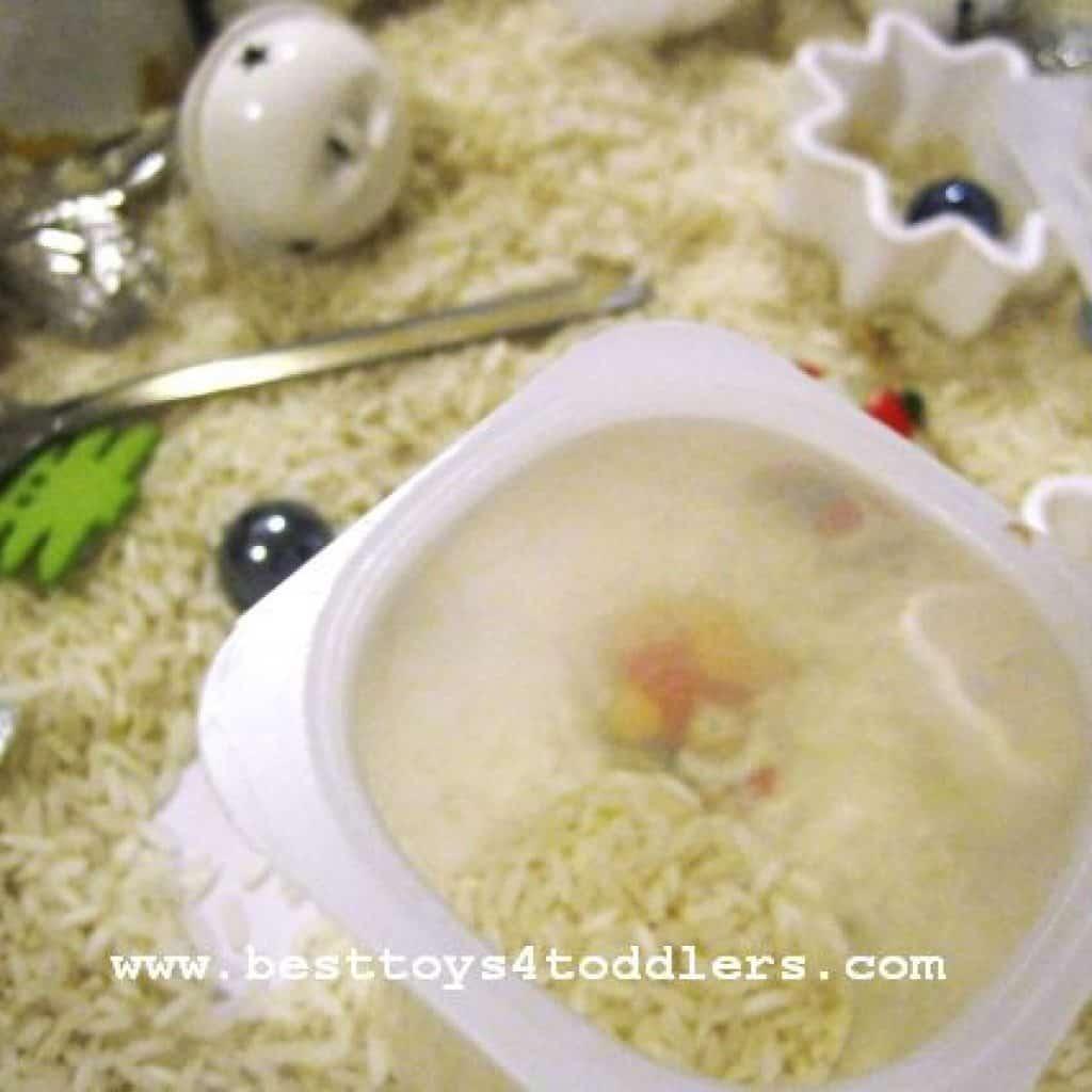 rice based winter sensory bin