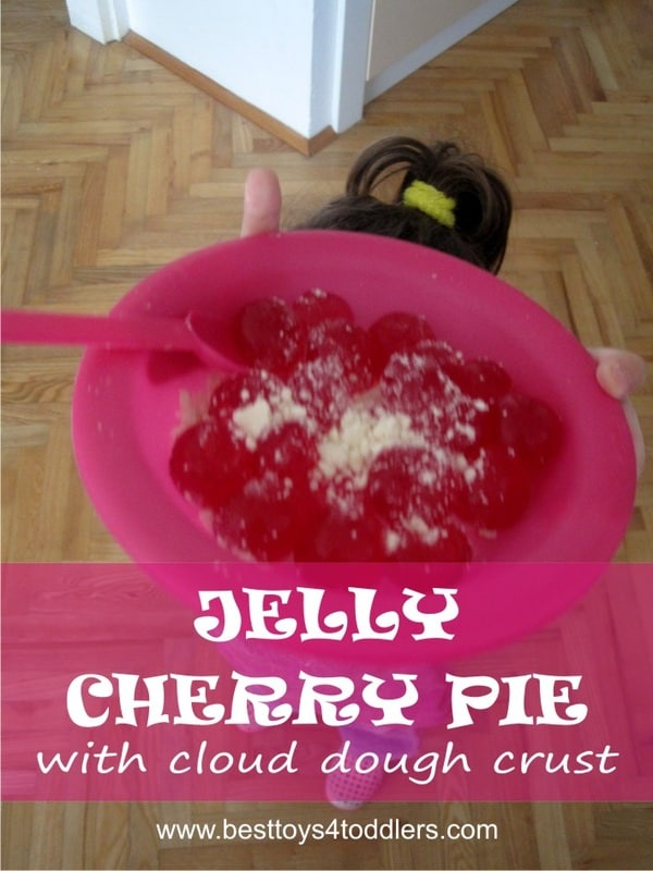Jelly Cherry Pie - with cloud dough crust - sensory and pretend play activity for toddlers and older kids