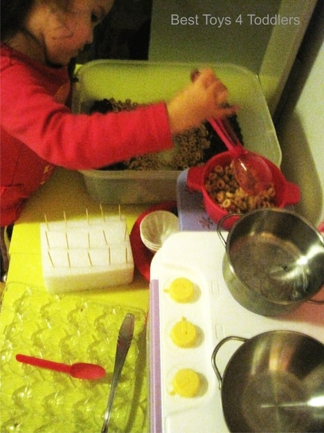 Cereals and beans cake play - simple sensory play with homemade play dough, cereals and beans