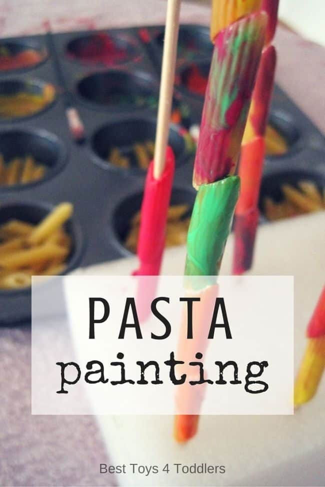 Best Toys 4 Toddlers - Painting pasta provides an amazing sensory activity for toddlers and older kids! #sensoryplay #artsandcrafts #indoorplay #messyplay #finemotor