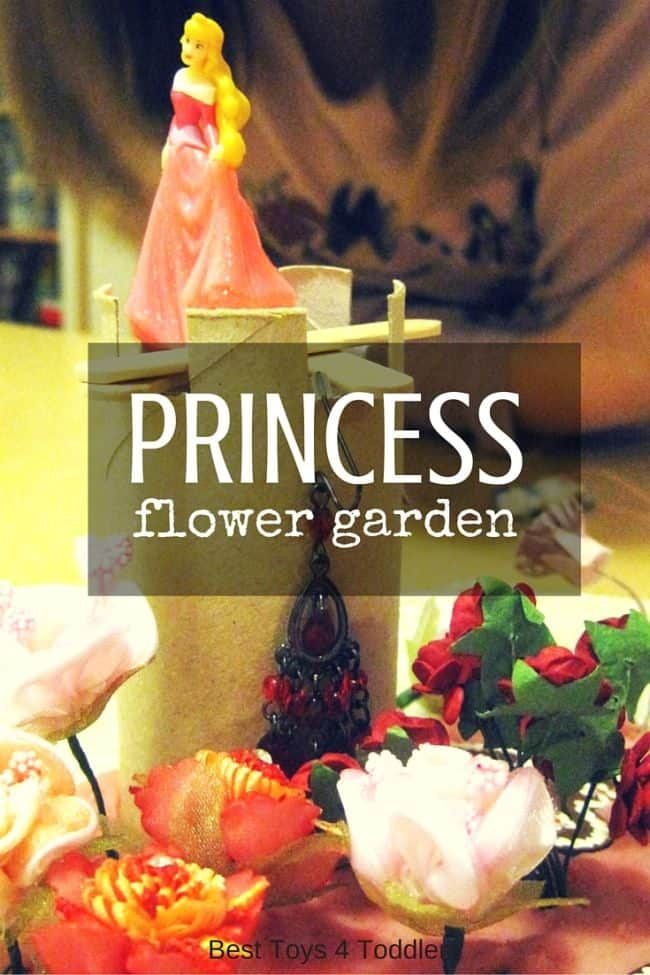 Mix up the items you already have at home and create unique sensory experience with flower garden for DIsney's Princesses! #sensoryplay #disneyprincess #pretendplay #imaginativeplay