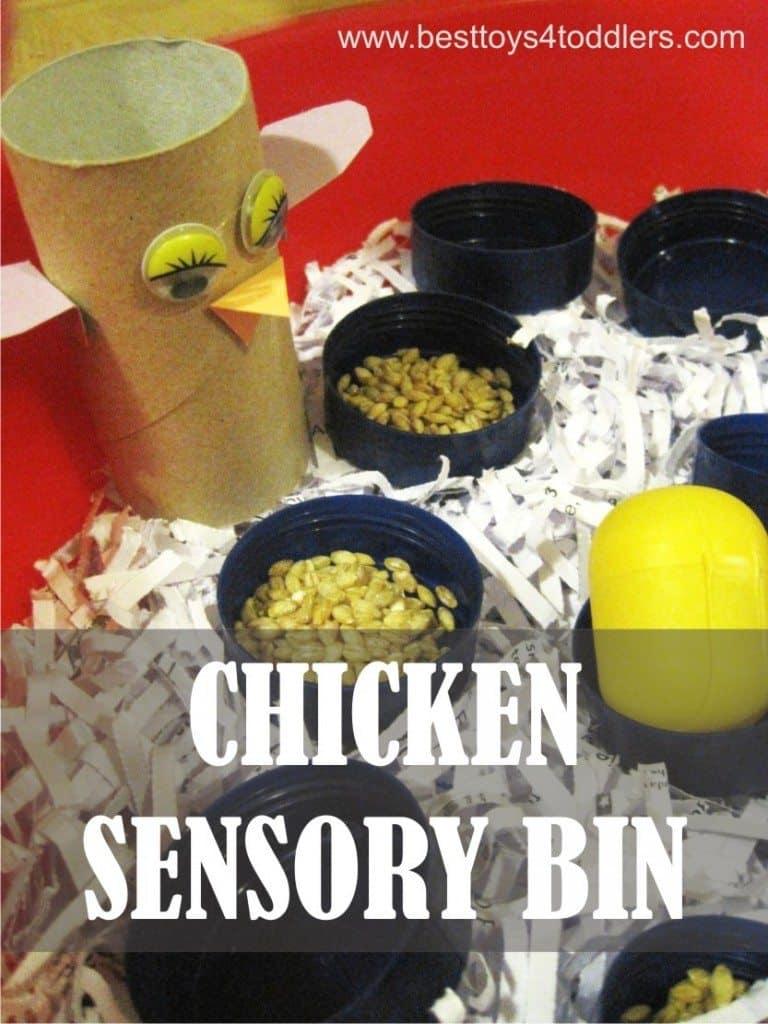Chicken Sensory Bin - easy to set up sensory bin from materials found in recycle bin #chickentheme #sensorybin #sensoryplay #pretendplay #recycledmaterials #junkplay