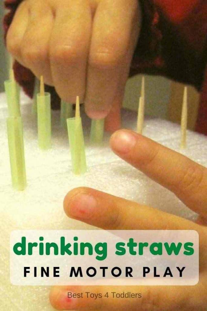 Fine motor practice with drinking straws. Simple activity for toddlers and preschoolers.