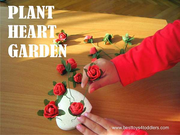 FIne motor practice for toddlers and preschoolers with mini roses activity.