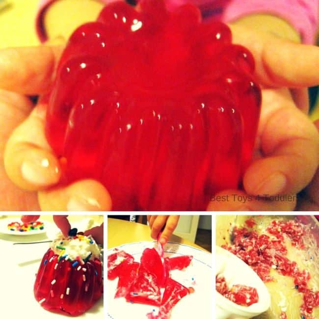 All the stages of creating jelly cake with kids. Using it for sensory exploration, fine motor practice with knife and decoration and pretend play.