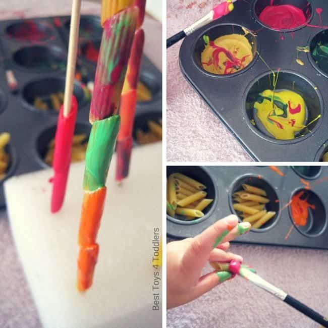 Best Toys 4 Toddlers - Pasta Painting, fun way to beat the boredom with kids!