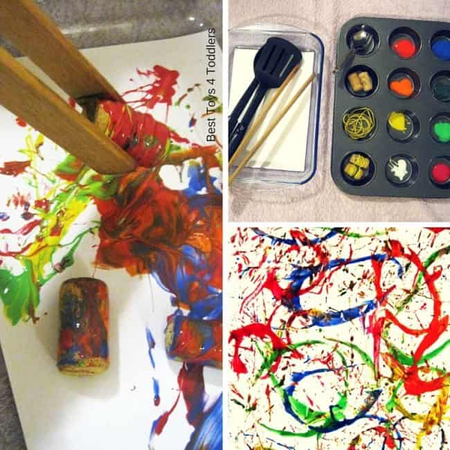 Best Toys 4 Toddlers - Process painting with common household items: gummy and corks.