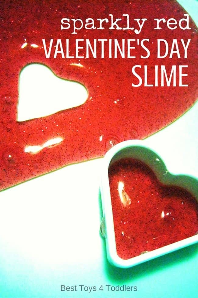 Best Toys 4 Toddlers - Sparkly red Valentine's day slime to make and play with kids! Awesome for sensory play with a touch of science! #sensoryplay #tactile #SPD #playideas #ideasforkids #valentinesday #slime #besttoys4tots