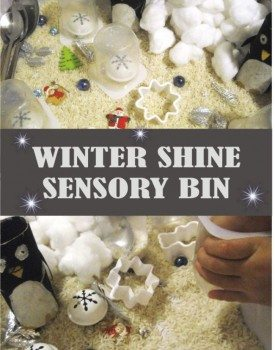 Fun winter themed sensory bin for toddlers and preschoolers. Add a little bit of sparkle and shine to make it more interesting!
