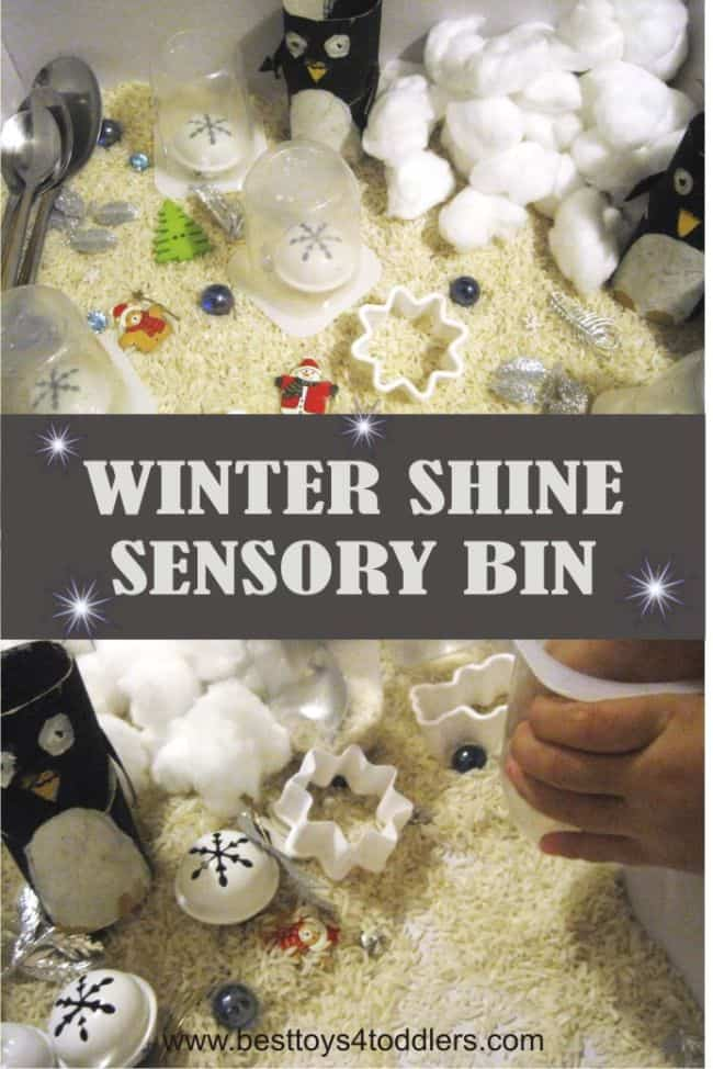 Best Toys 4 Toddlers - Fun winter themed sensory bin for toddlers and preschoolers. Add a little bit of sparkle and shine to make it more interesting! #winter #sensorybin #sensoryplay #sensorytub #penguins #playwithrice #playideas #activitiesfortoddlers