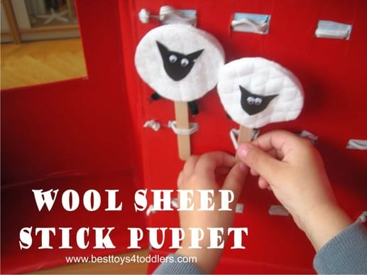Wool Sheep Stick Puppet, diy toy for kids to make!