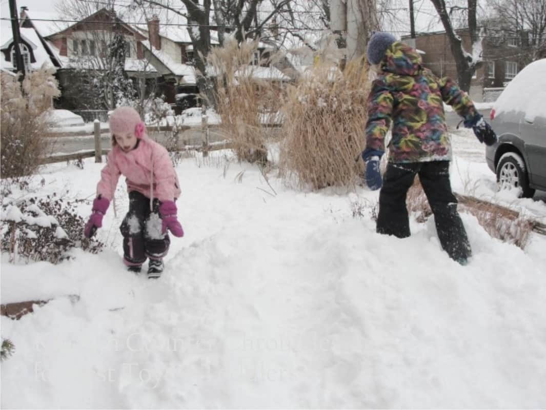 Sun or Snow - Simple Outdoor Play Ideas for every day or season - part of Less Toys. More Play. series