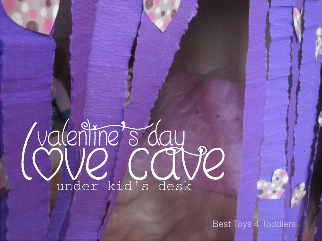 Valentine's Day Love Cave - created under kids writing table, idea for small spaces