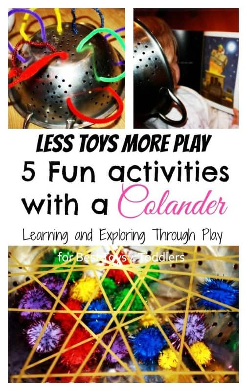 5 Fun Activities with a Colander, part of Less Toys. More Play. series