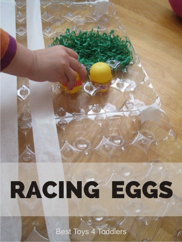 DIY Racing Eggs 3D board game for Toddlers and preschoolers, easy to create from items found in recycle bin