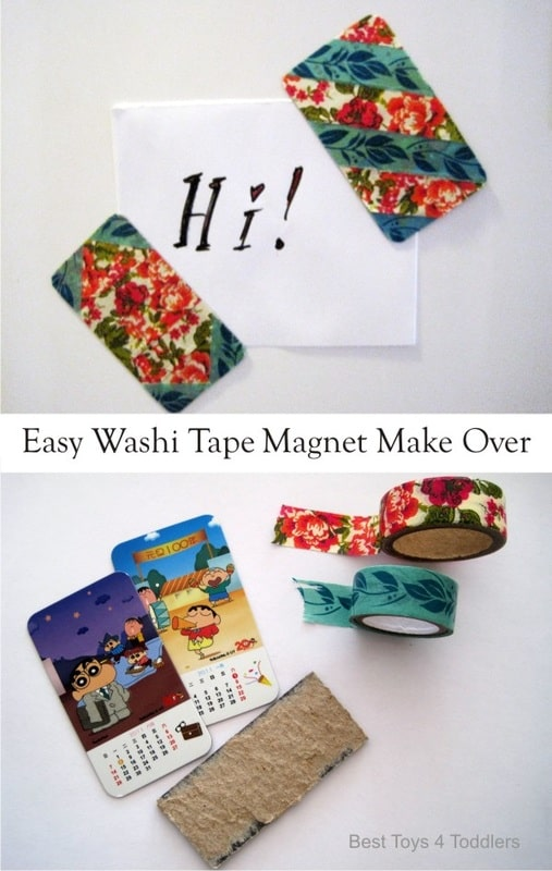 Easy Washi Tape Magnet Make Over, day 2 of 60 Day Junk Play Challenge - easy craft kids can do!