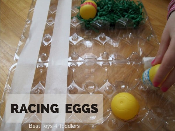 Racing Eggs - DIY board game from items found in recycle bin