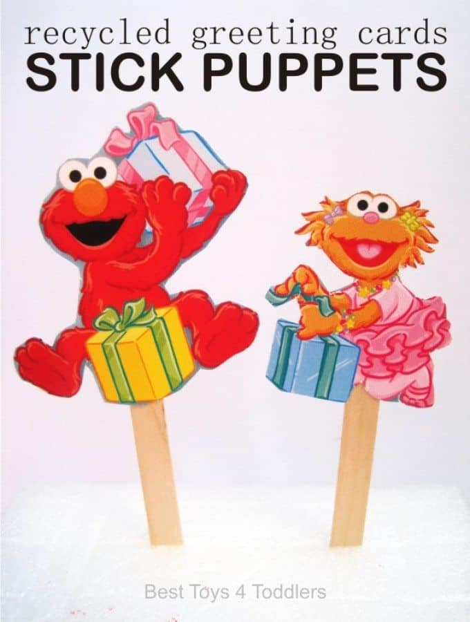 Kid Made Stick Puppets - created from recycled greeting / birthday / seasonal cards, cheap new pretend play toys