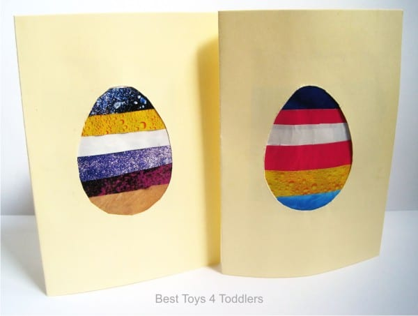 Recycled Easter Egg Cards , frugal play idea from magazine pages