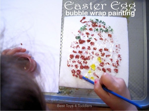 Bubble wrap painting for Easter
