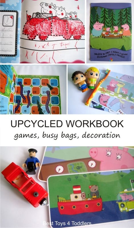 3 Ways to Upcycle and Repurpose Workbooks by Turning Them into Games, Busy Bags and Decorations