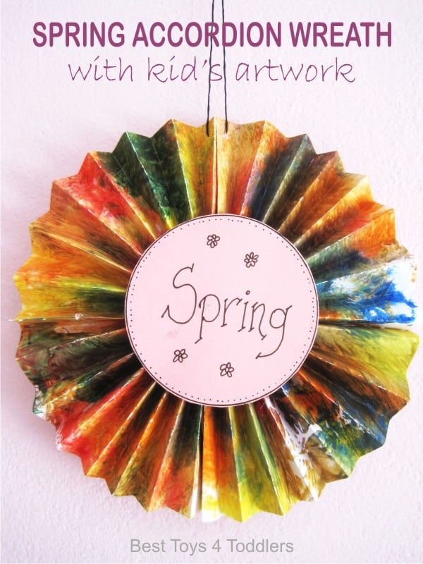 Spring Accordion Wreath - created from kid's artwork