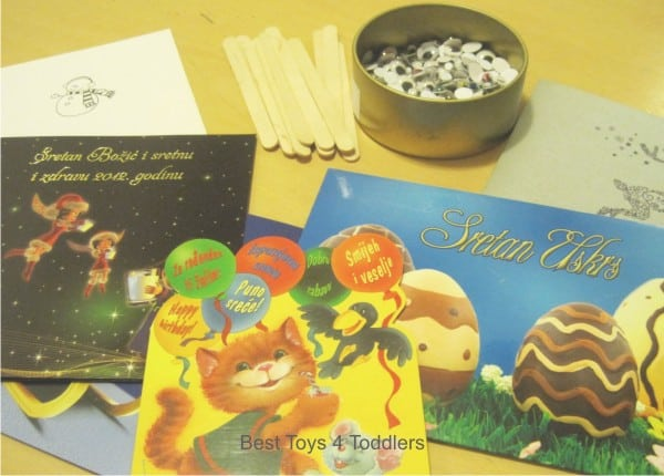 Recycle and reuse greeting cards, birthday cards, Christmas cards to make stick puppets for imaginative play