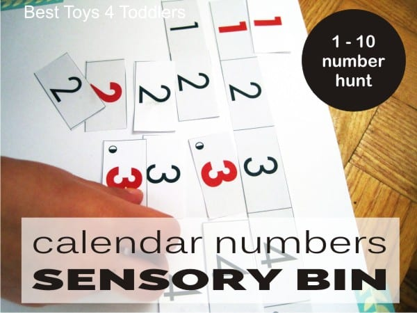 Matching numbers 1-10 found in a sensory bin, everything used for this activity is from recycle bin.