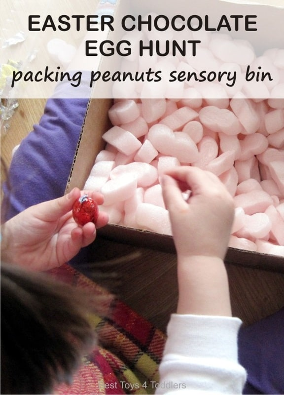 Easter Chocolate Egg Hunt in Packing Peanut Sensory Bin - easy and yummy Easter sensory bin for toddlers and preschoolers.