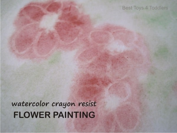Watercolor Crayon Resist Spring Flower Painting