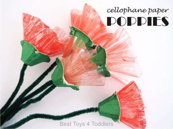 Cellophane Paper Poppies, easy craft for kids