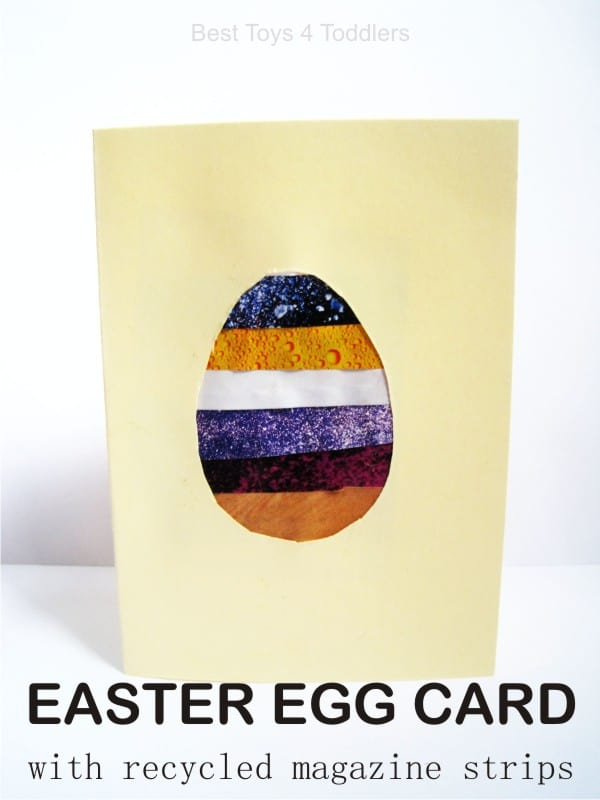 Easter Egg Card with recycled magazine page strips, easy Easter craft for toddlers and preschoolers