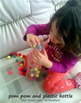 Fine Motor Play with Pom Poms and Plastic Bottle