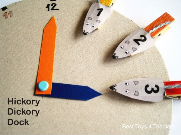 learning numbers, colors and time with Hickory Dickory Docks nursery rhyme
