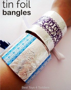 Tin Foil Bangles - easy to make, fun for pretend play, dress-up and costume play with kids