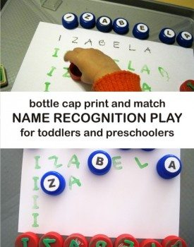 Bottle Cap Name Recognition Play for Toddlers and Preschoolers