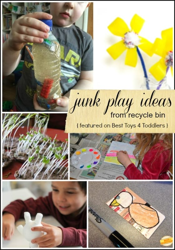 15 Junk Play Ideas from Recycle Bin - week 1 of #junkplay challenge