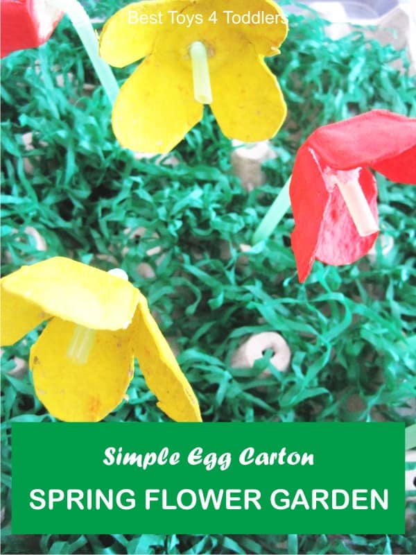 Spring Flower Garden, easy egg carton craft and fine motor practice for toddlers and preschoolers, part of #junkplay challenge