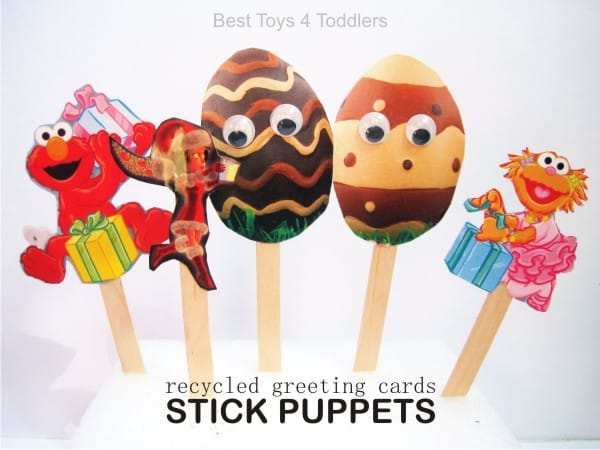 Frugal new toy for your kids - homemade stick puppets from recycled greeting cards