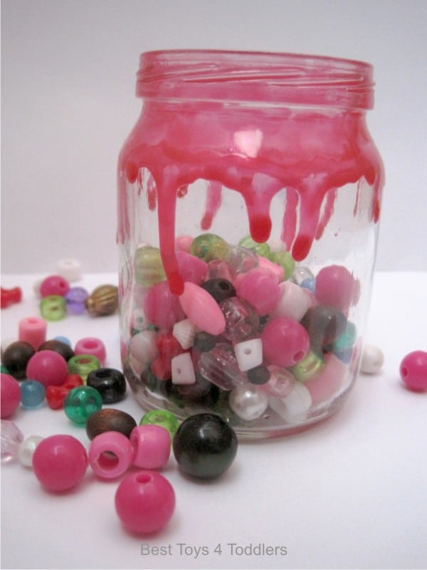 Nail Polish Drip Jar Decoration, day 3 of #junkplay challenge