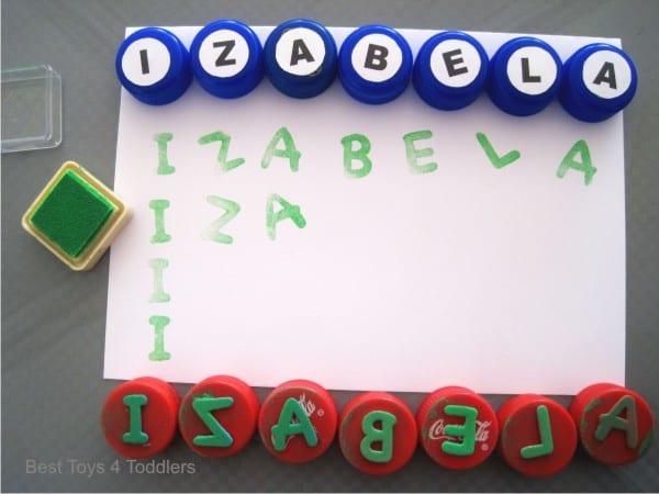 Using bottle caps for name recognition learning with toddler
