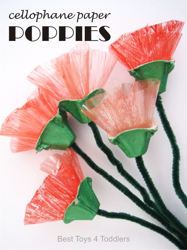 Cellophane Paper Poppies, created as a part of #junkplay challenge. Lovely little craft for kids and adults alike.