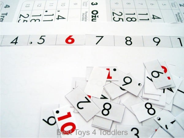 Recycling old calendar for #junkplay, number recognition game for toddlers and preschoolers