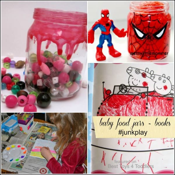 #junkplay with baby food jars and books - repurposing materials from recycle bin for play