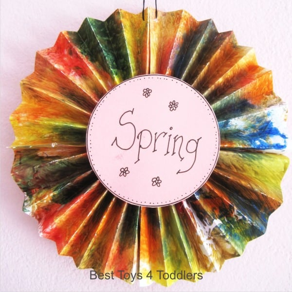 Accordion Style Spring Wreath created from kid's paintings