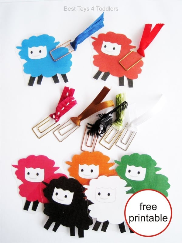 Sing Little Bo Peep nursery rhyme as kids learn colors and practice their fine motor skills with this cute sheep free printable