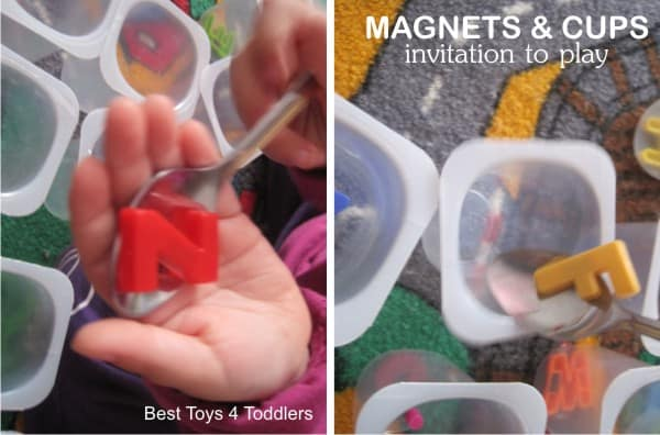 Working on fine motor skills, number, letter and color recognition with simple magnet play
