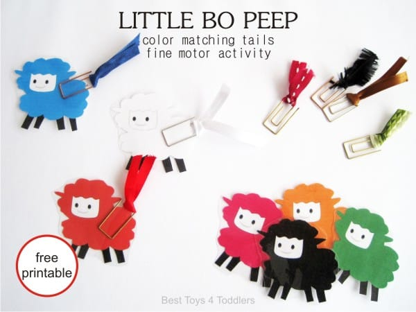Little Bo Peep - color matching tails for fine motor activity with toddlers and preschooler, free printable included